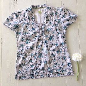 White Teal Floral Ruffle Front Medical Scrub